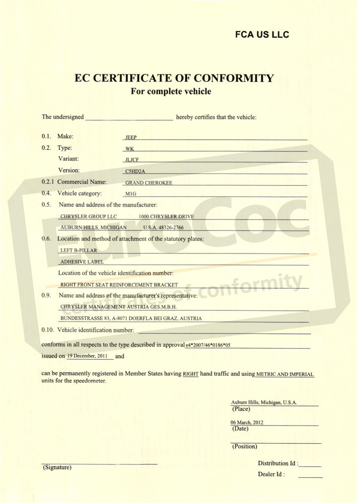 Certificate Of Conformity Coc Fiat