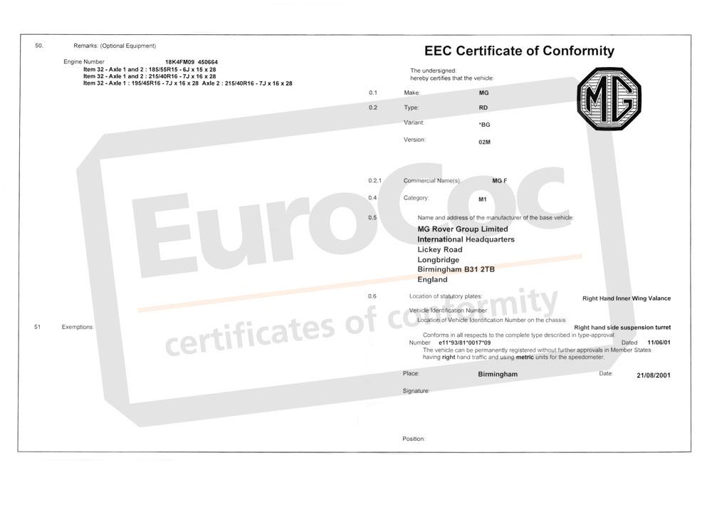 certificats de conformit europe n coc eurococ. Black Bedroom Furniture Sets. Home Design Ideas