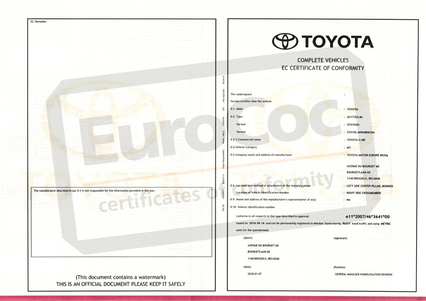 Toyota certificate of conformity